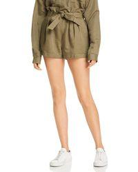 FRAME - Paperbag Waist Linen Blend Shorts - Lyst