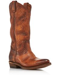 Frye - Women's Billy Tall Embroidered Leather Western Boots - Lyst