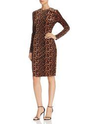 Aqua - Leopard Velvet Sheath Dress - Lyst