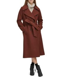 Andrew Marc - Sculpted Twill Double-breasted Button-front Coat - Lyst