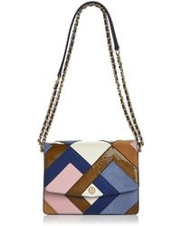 Tory Burch - Robinson Color-block Leather & Suede Pierced Shoulder Bag - Lyst