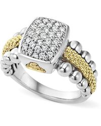 Lagos - Sterling Silver And 18k Gold Caviar Ring With Diamonds - Lyst