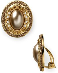 Carolee - Oval Button Clip-on Earrings - Lyst