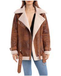 Avec Les Filles - Oversized Faux Shearling Moto Jacket - Lyst