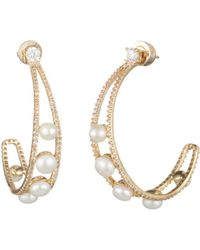 Carolee - Cultured Freshwater Pearl Hoop Earrings - Lyst