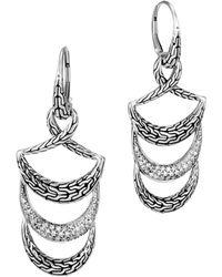 John Hardy - Sterling Silver Classic Chain Pavé Diamond Tier Triple Drop Earrings - Lyst