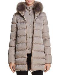 Herno - Fox Fur Trim Satin Down Coat - Lyst