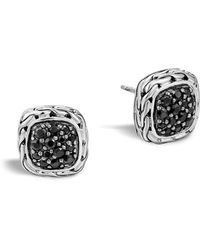 "John Hardy | ""kali Lava"" Small Square Stud Earrings With Black Sapphire 