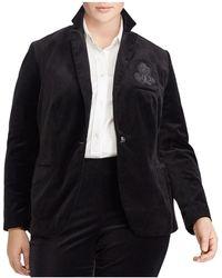 Ralph Lauren | Lauren Plus Velvet Crest Embroidered Blazer | Lyst