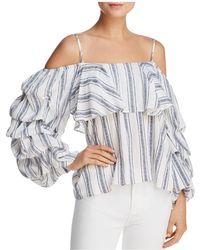 Aqua | Striped Cold-shoulder Top | Lyst
