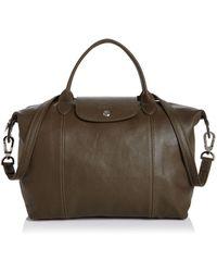 Longchamp - Le Pliage Medium Leather Satchel - Lyst