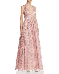 Floral Embroidered Tulle Gown - Purple
