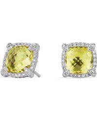 David Yurman - Châtelaine Pavé Bezel Stud Earrings With Lemon Citrine And Diamonds - Lyst
