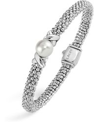 Lagos - Enso Sterling Silver Caviar Bracelet With Diamonds - Lyst