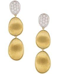 Marco Bicego - Diamond Lunaria Three Drop Small Earrings In 18k Gold - Lyst