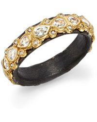 Armenta - 18k Yellow Gold And Blackened Sterling Silver Old World Diamond And White Sapphire Stacking Ring - Lyst