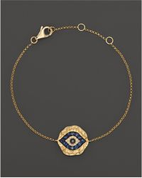Bloomingdale's - Diamond And Sapphire Evil Eye Bracelet In 14k Yellow Gold - Lyst