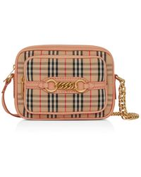 623b33d27346 Lyst - Burberry  gowan  Canvas Check Print   Leather Crossbody Bag ...