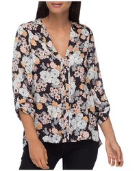 B Collection By Bobeau - Cristy Floral-print Pleat-back Top - Lyst