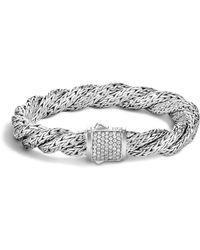 John Hardy - Classic Chain Sterling Silver Medium Flat Twisted Chain Bracelet With Diamond Pavé - Lyst