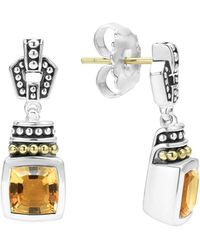 Lagos - 18k Gold And Sterling Silver Caviar Colour Citrine Drop Earrings - Lyst