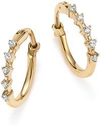 Adina Reyter | 14k Yellow Gold 5-diamond Huggie Hoop Earrings | Lyst