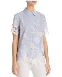 T Tahari - Lola Embroidered Lace Blouse - Lyst