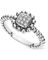 Lagos - Sterling Silver Caviar Spark Diamond Square Ring - Lyst