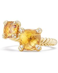 David Yurman - Châtelaine Bypass Ring With Citrine & Diamonds In 18k Gold - Lyst