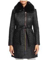 Via Spiga - Faux Fur Trim Belted & Quilted Coat - Lyst