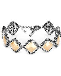 John Hardy - Hammered 18k Yellow Gold And Sterling Silver Classic Chain Link Bracelet - Lyst