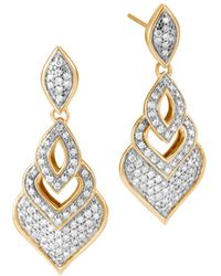 John Hardy - 18k Yellow Gold Legends Naga Pavé Diamond Drop Earrings - Lyst