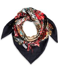 Burberry - Floral Scribble Silk Scarf - Lyst