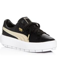 df0ab1269d73 PUMA - Women s Trace Varsity Leather Lace Up Platform Sneakers - Lyst