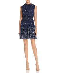 Rebecca Taylor - Smocked Metallic-print Dress - Lyst