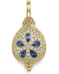 Temple St. Clair - 18k Gold Sea Biscuit Pendant With Sapphire And Pavé Diamonds - Lyst