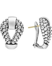 Lagos - Sterling Silver Derby Caviar Omega Clip Earrings - Lyst