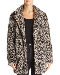 Aqua - Leopard Print Faux Fur Jacket - Lyst