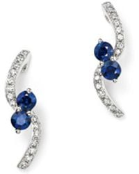 KC Designs - 14k White Gold Diamond & Sapphire Curve Earrings - Lyst