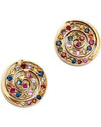 Shebee - 14k Yellow Gold Multicolor Sapphire Spiral Drop Earrings - Lyst