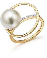 Mateo - 14k Yellow Gold Pearl Orbit Ring With Diamonds - Lyst