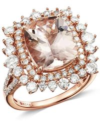 Bloomingdale's - Morganite & Diamond Halo Statement Ring In 14k Rose Gold - Lyst
