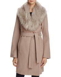 T Tahari - Flora Faux Fur-trim Wrap Coat - Lyst