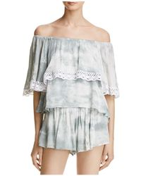 PPLA - Off-the-shoulder Tie-dye Top And Shorts Set - Lyst