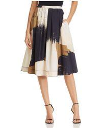 Donna Karan - Brushstroke Print A-line Midi Skirt - Lyst