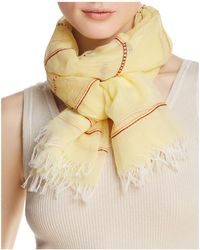 Aqua - Embroidered Striped Oblong Scarf - Lyst