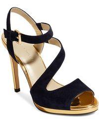 877df155985 Karen Millen - Women s Suede   Metallic Platform Sandals - Lyst