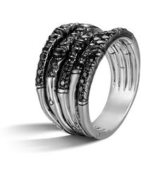 John Hardy - Bamboo Silver Lava Wide Ring With Black Sapphire - Lyst