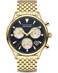 Movado - Men's Heritage Series Calendoplan Chronograph Watch - Gold - Lyst