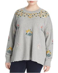 Lucky Brand - Embroidered Drop Shoulder Sweatshirt - Lyst